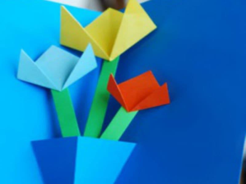 Открытка с цветами ручной работы