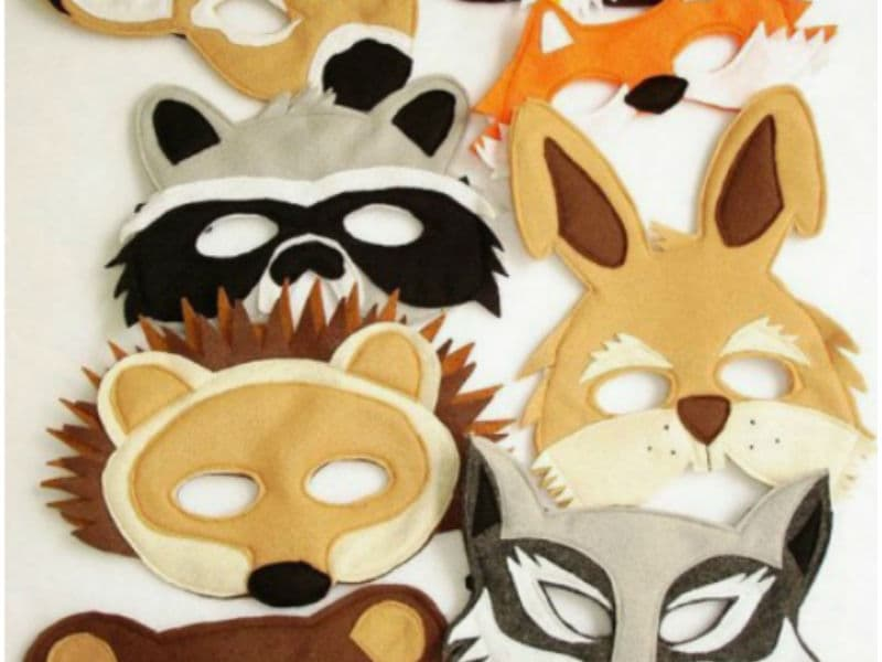 маски животных из фетра